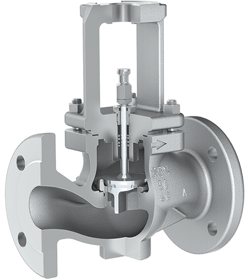 Globe control valve 3241 cut-away view